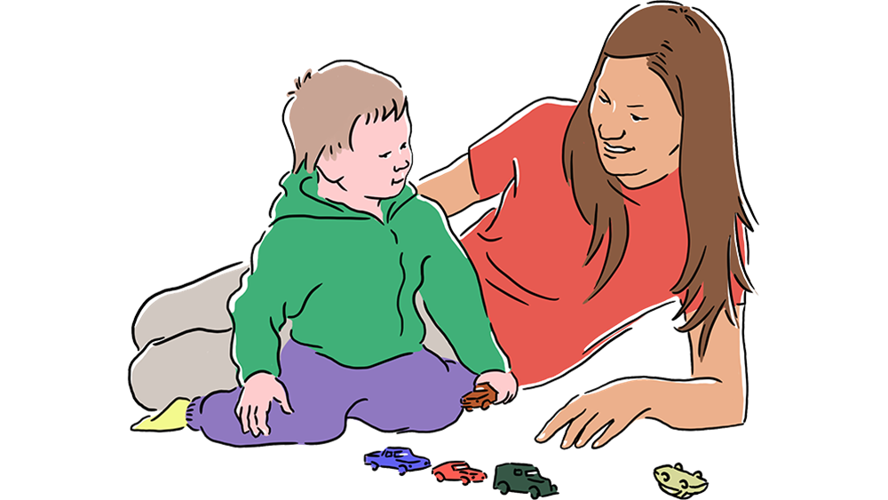 Illustration of Mother and Child are Playing with Toy Cars on the floor.